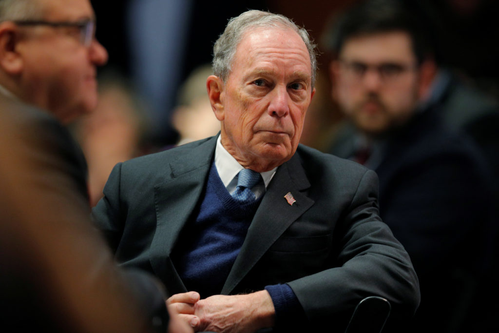 Former New York City Mayor and possible 2020 Democratic presidential candidate Michael Bloomberg listens as he is introduc...