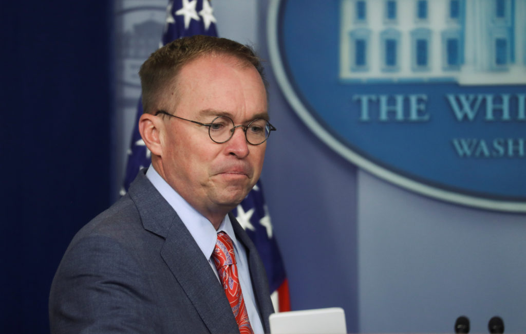 Acting White House Chief of Staff Mick Mulvaney arrives to answer questions from reporters during a news briefing at the White House in Washington, U.S., October 17, 2019. Photo by Leah Millis/Reuters