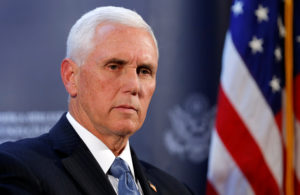 U.S. Vice President Mike Pence attends a news conference at the U.S. Embassy in Ankara, Turkey, October 17, 2019. Photo by Huseyin Aldemir/Reuters