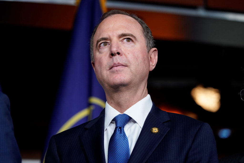 Chairman of the House Intelligence Committee Adam Schiff (D-CA) speaks during a media briefing after a House vote approving rules for an impeachment inquiry into U.S. President Trump on Capitol Hill in Washington, U.S., October 31, 2019. Photo by Joshua Roberts/Reuters