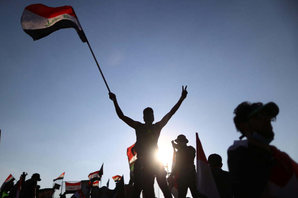 Iraqi demonstrators take part in an ongoing anti-government protest, in Baghdad, Iraq November 1, 2019. REUTERS/Ahmed Jadallah