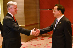 U.S. National Security advisor Robert O'Brien shakes hands with China's Premier Li Keqiang, during a bilateral meeting on the sidelines of the 35th Association of Southeast Asian Nations (ASEAN) Summit in Bangkok, Thailand November 4, 2019. Romeo Gacad/Pool via Reuters