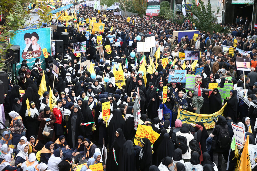 Iranian protesters attend an anti U.S. demonstration, marking the 40th anniversary of the U.S. embassy takeover, near the old U.S. embassy in Tehran, Iran, November 4, 2019. Nazanin Tabatabaee/WANA (West Asia News Agency) via REUTERS ATTENTION EDITORS - THIS IMAGE HAS BEEN SUPPLIED BY A THIRD PARTY