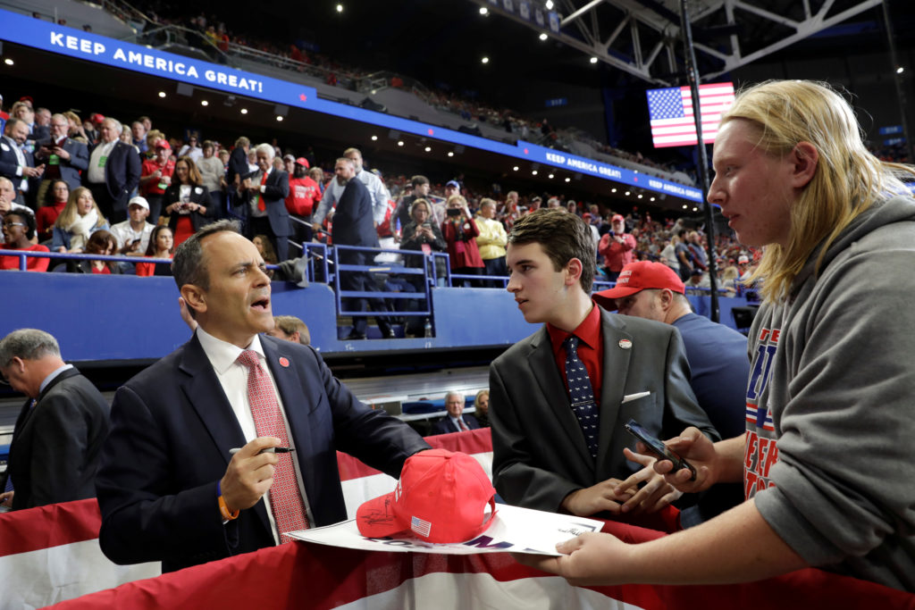 Governor Matt Bevin signs autographs at a campaign rally at the Rupp Arena in Lexington, Kentucky, U.S., November 4, 2019. Photo by Yuri Gripas/Reuters