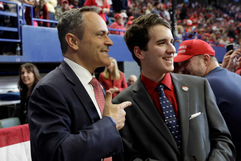 Kentucky Governor Matt Bevin talks with a supporter at a Trump campaign rally at the Rupp Arena in Lexington, Kentucky, U.S., November 4, 2019. Picture taken November 4, 2019. Photo by Yuri Gripas/Reuters