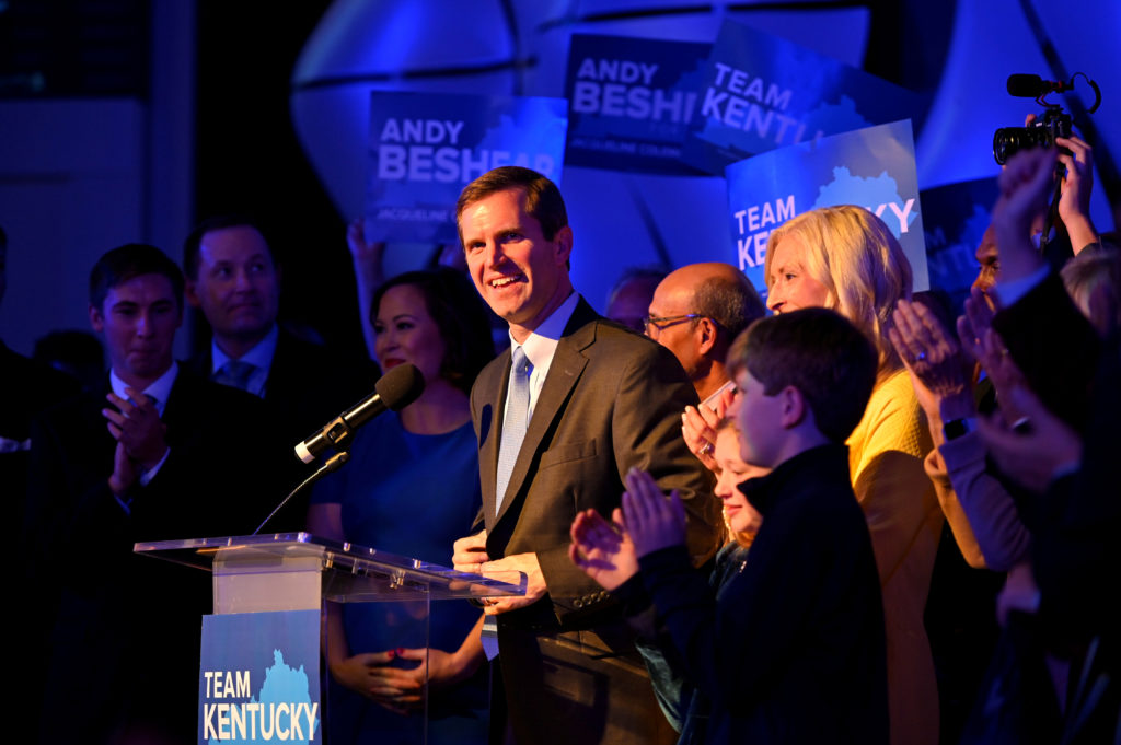 Kentucky's Attorney General Andy Beshear, running for governor against Republican incumbent Matt Bevin, reacts to statewide election results at his watch party in Louisville, Kentucky, U.S. November 5, 2019. Photo by Harrison McClary/Reuters