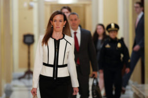 Jennifer Williams, special adviser for Europe and Russia in the Office of U.S. Vice President Mike Pence arrives on Capitol Hill for a closed-door hearing in Washington, U.S., November 7, 2019. Photo by Tom Brenner/Reuters