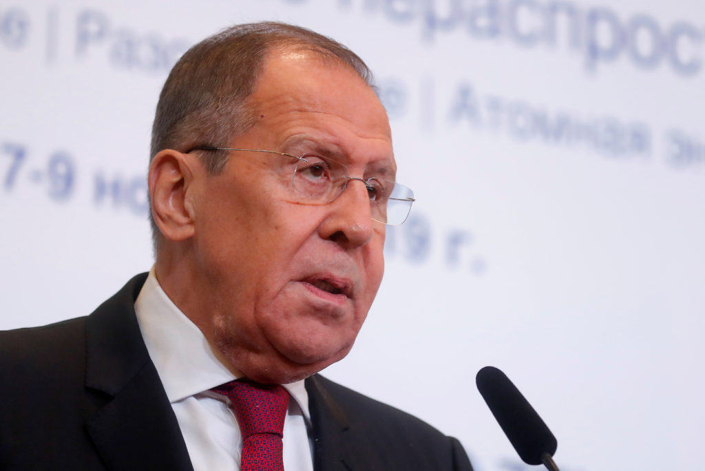 Russian Foreign Minister Sergei Lavrov delivers a speech during the Moscow Nonproliferation Conference in Moscow, Russia on November 8, 2019. Photo by Maxim Shemetov/Reuters