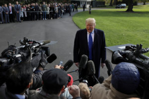 U.S. President Donald Trump speaks to the news media before boarding Marine One to depart for travel to Georgia from the South Lawn of the White House in Washington, U.S., November 8, 2019. Photo by Leah Millis/Reuters
