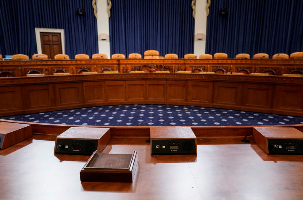 The committee room in the Longworth House Office Building where the first public hearings in the impeachment inquiry against U.S. President Donald Trump are scheduled to take place is shown on Capitol Hill in Washington, U.S., November 6, 2019. Photo by Joshua Roberts/Reuters