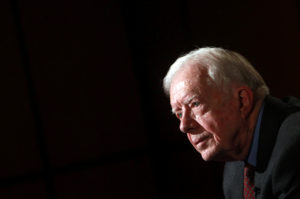FILE PHOTO: Former U.S. President Jimmy Carter attends an interview with Reuters in Cairo January 12, 2012. REUTERS/Amr Abdallah Dalsh/File Photo