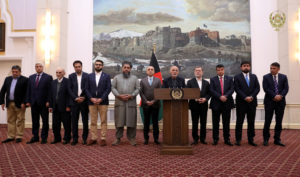 Afghanistan's President Ashraf Ghani speaks about the release of two senior Taliban commanders and a leader of the Haqqani militant group in exchange for an American and an Australian professor who were kidnapped in 2016, in Kabul, Afghanistan November 12, 2019. Afghan Presidential Palace /Handout via Reuters