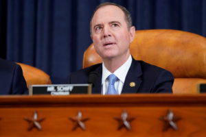 U.S. Representative Adam Schiff, the chairman of the House Intelligence Committee takes his seat at a House Intelligence Committee hearing as part of the impeachment inquiry into U.S. President Donald Trump on Capitol Hill in Washington, U.S., November 13, 2019. REUTERS/Joshua Roberts