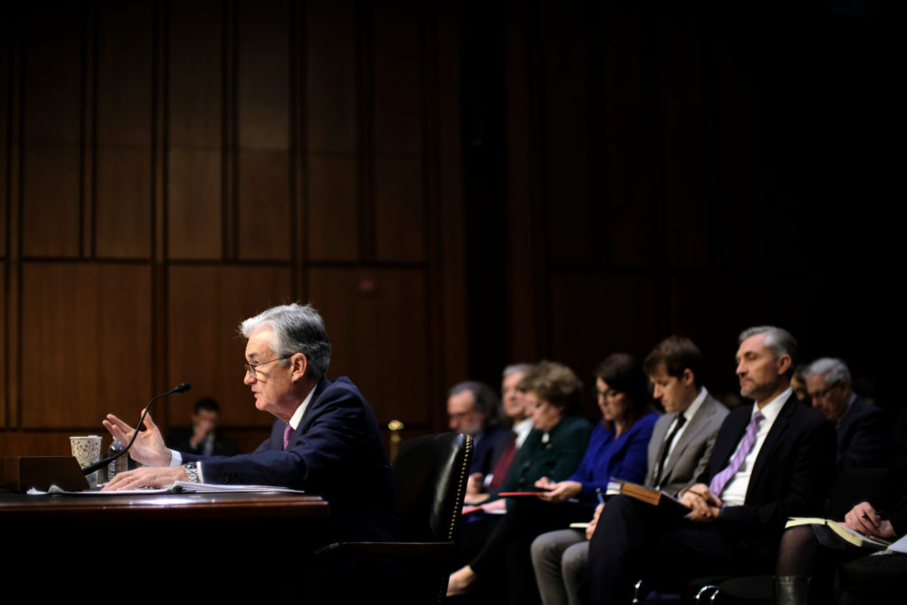 "Federal Reserve Board Chairman Jerome Powell testifies before a Joint Economic Committee hearing on ""The Economic Outlook"" on Capitol Hill in Washington, U.S., November 13, 2019. Photo by James Lawler Duggan/Reuters"