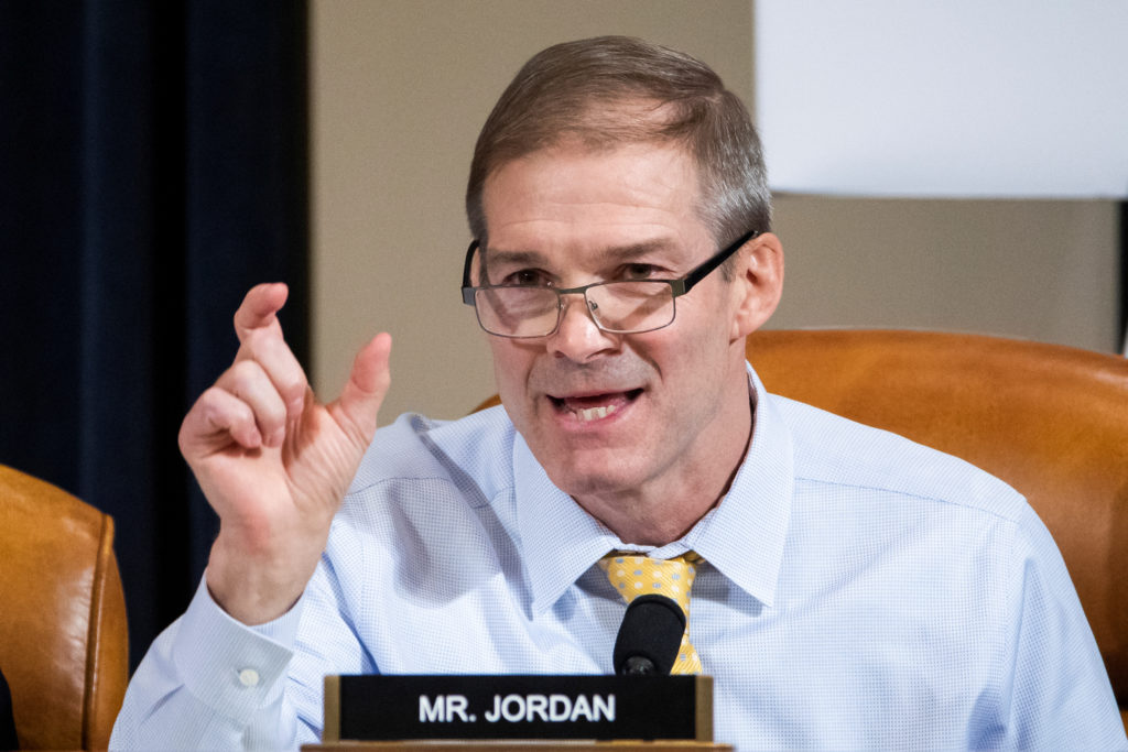 Republican Representative from Ohio Jim Jordan speaks during the House Permanent Select Committee on Intelligence hearing on the impeachment inquiry into U.S. President Donald J. Trump, on Capitol Hill in Washington, DC, U.S., November 13, 2019. Jim Lo Scalzo/Pool via REUTERS