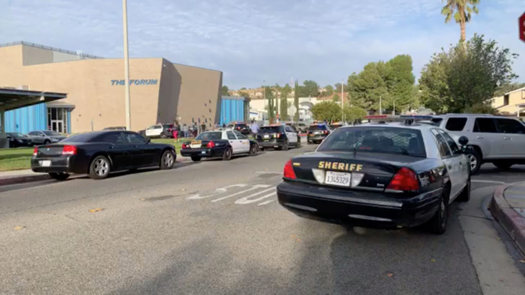 A general view of first responder vehicles outside Saugus High School after a shooting at the school, in Santa Clarita, California, U.S., November 14, 2019 obtained from social media video. KHTS Radio via Reuters
