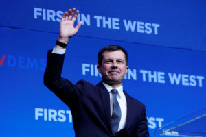 Democratic U.S. presidential candidate Pete Buttigieg appears on stage at a First in the West Event at the Bellagio Hotel in Las Vegas, Nevada, U.S., November 17, 2019. Photo by Carlo Allegri/Reuters