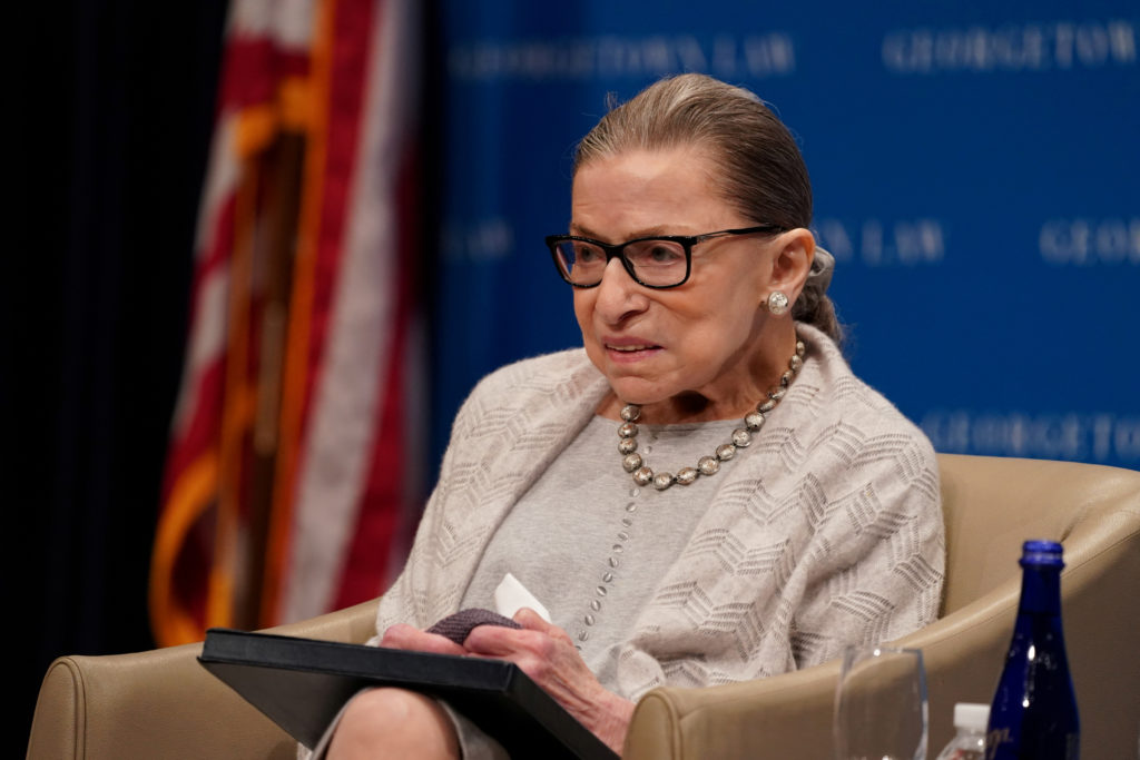 FILE PHOTO: U.S. Supreme Court Justice Ruth Bader Ginsburg participates in a discussion hosted by the Georgetown University Law Center in Washington, D.C., U.S., September 12, 2019. Photo by Sarah Silbiger/Reuters