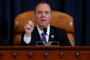 House Intelligence Committee Chairman Rep. Adam Schiff (D-CA) speaks at a House Intelligence Committee hearing featuring witness U.S. Ambassador to the European Union Gordon Sondland testifying as part of the impeachment inquiry into U.S. President Donald Trump on Capitol Hill in Washington, U.S., November 20, 2019. REUTERS/Yara Nardi/Pool