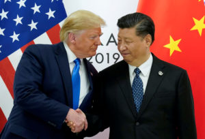 FILE: U.S. President Donald Trump meets with China's President Xi Jinping at the start of their bilateral meeting at the G20 leaders summit in Osaka, Japan, June 29, 2019. Photo by REUTERS/Kevin Lamarque/File Photo