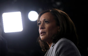 Democratic presidential candidate Senator Kamala Harris is interviewed in the spin room after the U.S. Democratic presidential candidates debate at the Tyler Perry Studios in Atlanta, Georgia, U.S. November 20, 2019. Photo by Christopher Aluka Berry/Reuters