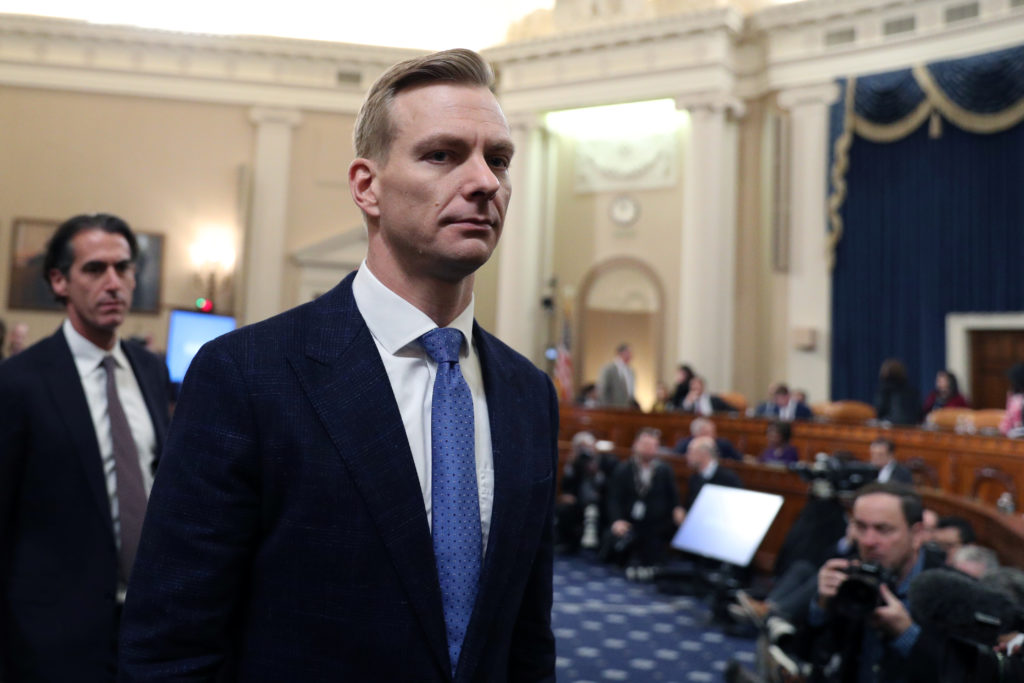 David Holmes, political counselor at the U.S Embassy in Kiev, leaves during a recess break at a House Intelligence Committee hearing as part of the impeachment inquiry into U.S. President Donald Trump on Capitol Hill in Washington, U.S., November 21, 2019. REUTERS/Loren Elliott