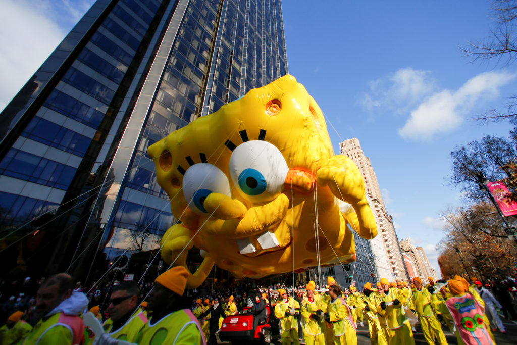 The Spongebob SquarePants with Gary the Snail balloon hovers above the crowd during the 93rd Macy's Thanksgiving Day Parade in New York, on November 28, 2019. Photo by Caitlin Ochs/Reuters