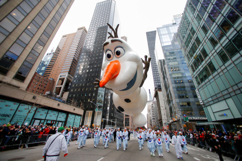 The Olaf from Frozen balloon is carried during the 93rd Macy's Thanksgiving Day Parade in New York, U.S., November 28, 2019. Photo by Caitlin Ochs/Reuters