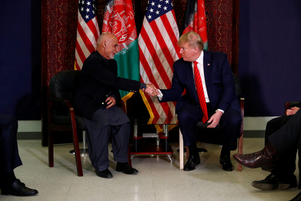 U.S. President Donald Trump meets with Afghanistan President Ashraf Ghani during a surprise visit at Bagram Air Base in Afghanistan, November 28, 2019. Photo by Tom Brenner/Reuters
