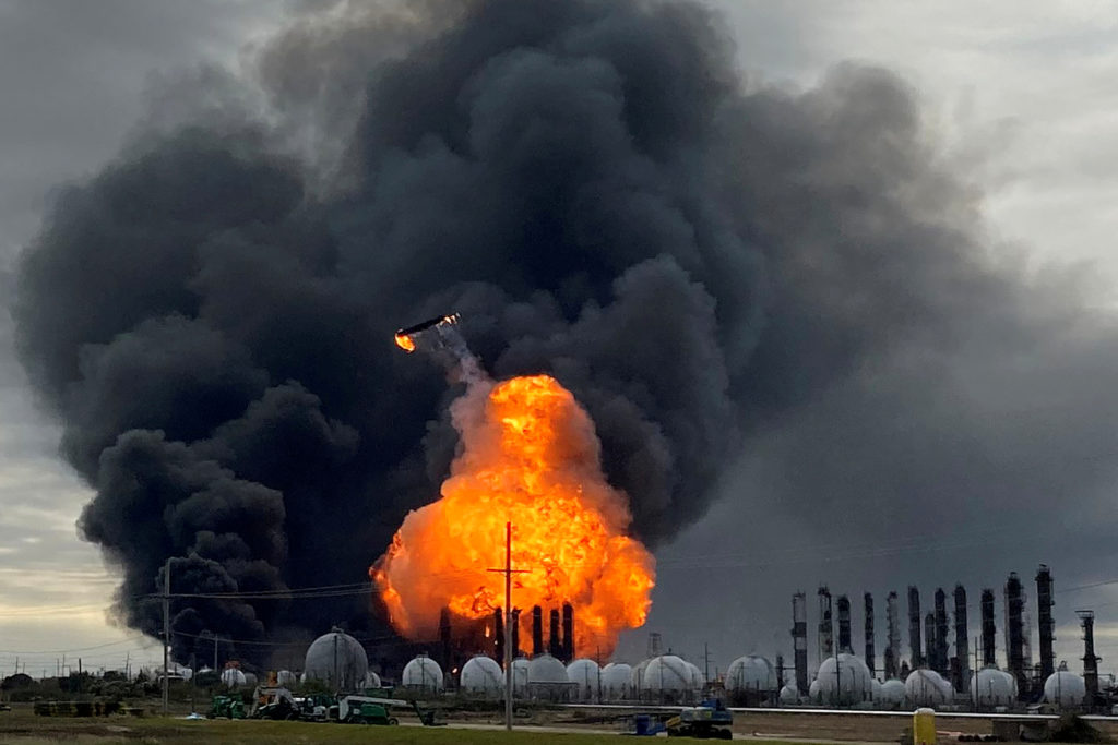 FILE PHOTO: A process tower flies through air after exploding at the TPC Group Petrochemical Plant, after an earlier massive explosion sparked a blaze at the plant in Port Neches, Texas, on November 27, 2019.  Photo by Erwin Seba/Reuters