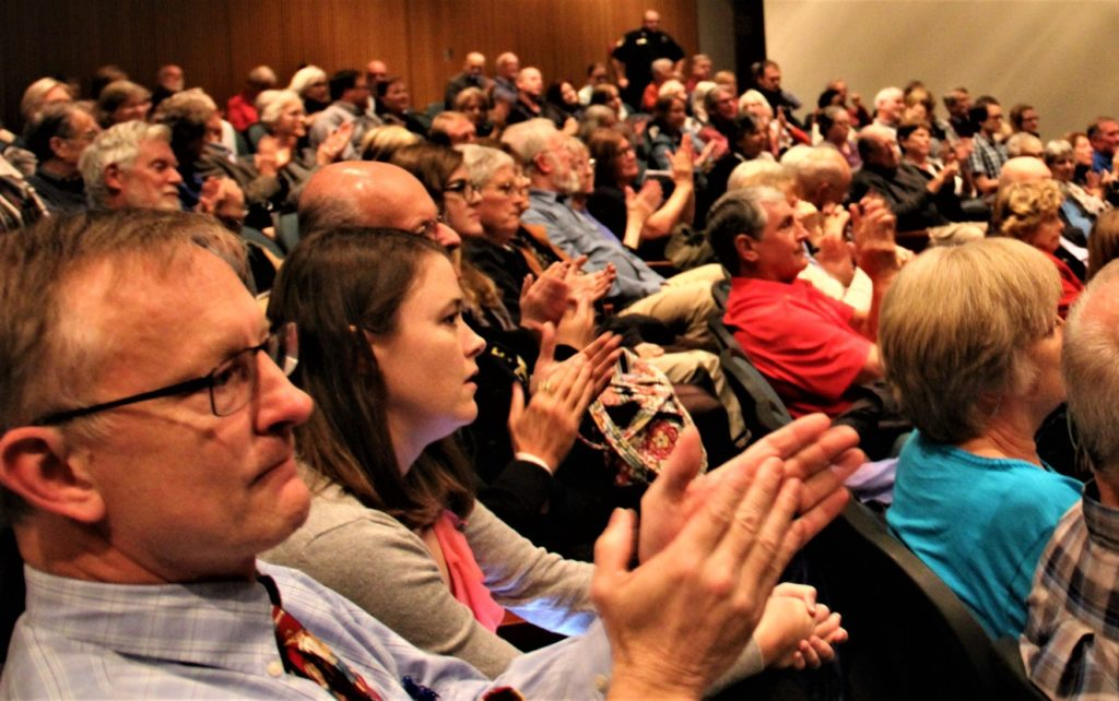 Attendees react at Rep. Elaine Luria's town hall in Williamsburg, Va. Photo courtesy of the Office of Elaine Luria.