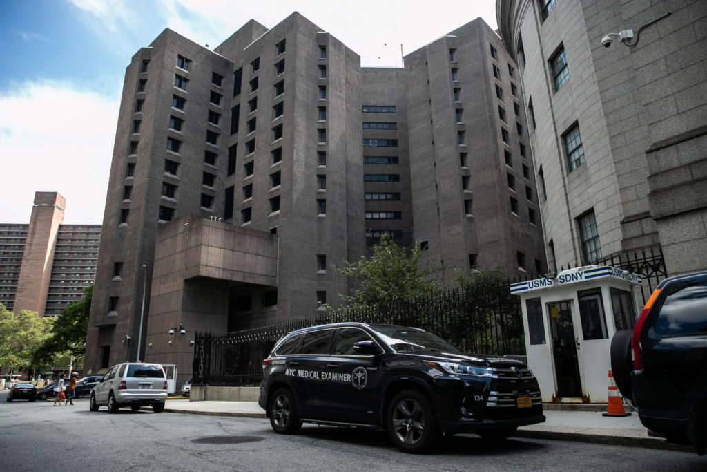 A medical examiner vehicle is seen Metropolitan Correctional Center jail where financier Jeffrey Epstein, who was found dead in the Manhattan borough of New York City, New York, U.S., August 10, 2019. Photo by REUTERS/Jeenah Moon