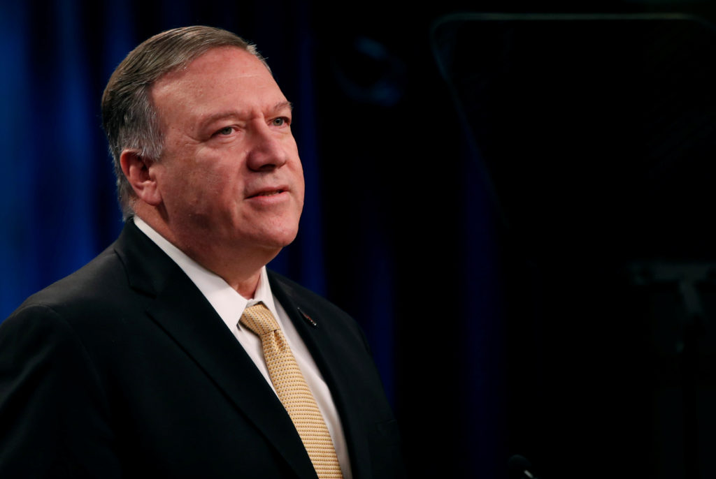 U.S. Secretary of State Mike Pompeo delivers a statement on the Trump administration's position on Israeli settlements in ...