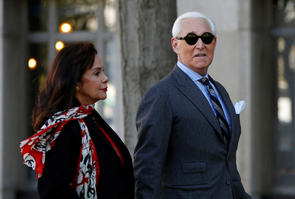 Roger Stone, former campaign adviser to U.S. President Donald Trump, arrives with his wife Nydia for the continuation of his criminal trial on charges of lying to Congress, obstructing justice and witness tampering at U.S. District Court in Washington, U.S., November 13, 2019. Photo by REUTERS/Yara Nardi