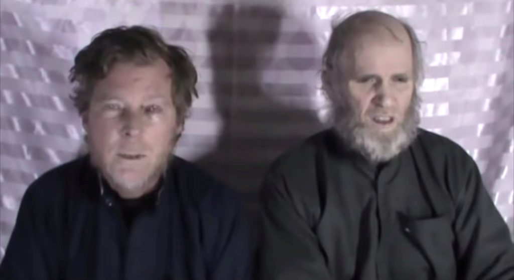 Timothy Weeks and Kevin King speak to the camera while kept hostage by Taliban insurgents in an unknown location, said to be Afghanistan, in this still image taken from a social media video said to be shot January 1, 2017 and shared by pro-Taliban channels. Social media via REUTERS