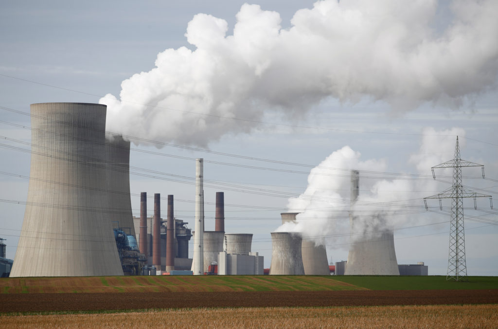 Steam rises from the five brown coal-fired power units of RWE, one of Europe's biggest electricity companies in Neurath, north-west of Cologne, Germany March 12, 2019. Photo by REUTERS/Wolfgang Rattay