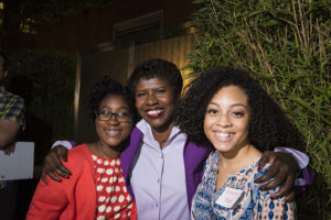Gwen Ifill and students Jephtane Sophie Sabin and Kennedy Huff at the NewsHour in 2014.