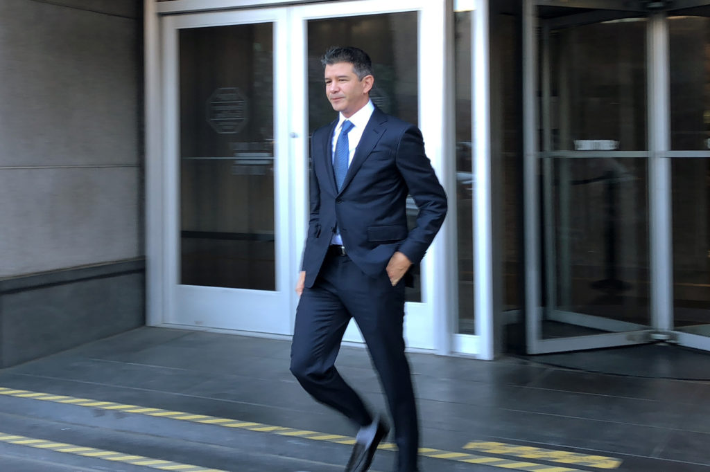 Former Uber Chief Executive Officer Travis Kalanick leaves the San Francisco federal court during a Waymo-Uber autonomous car secrets trial in San Francisco, California, U.S., February 7, 2018. Photo by Jane Lee/Reuters