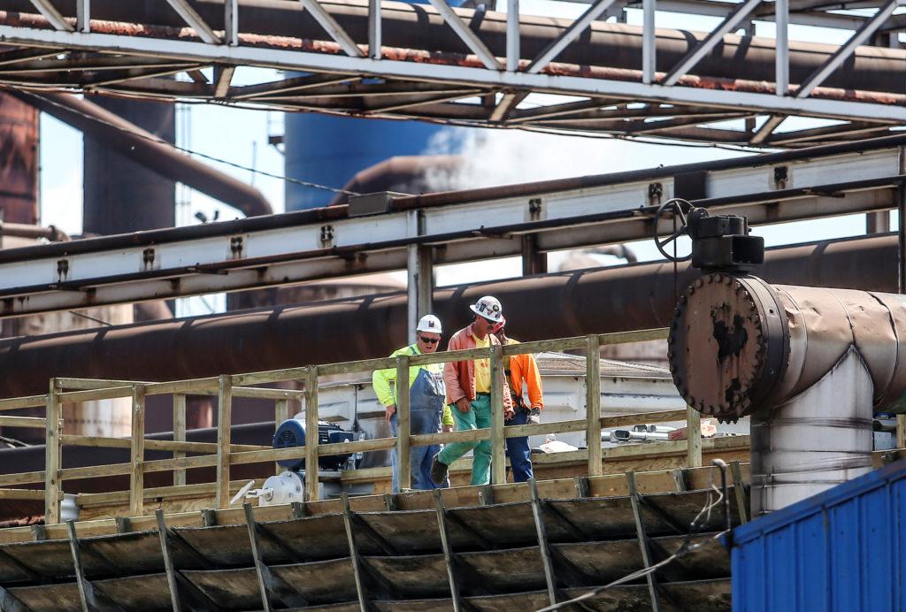 Steel workers return to work at U.S. Steel Granite City Works after…