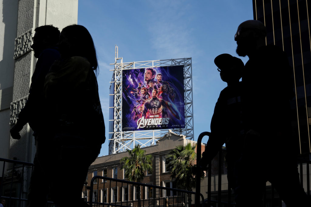 """Avengers fans arrive at the TCL Chinese Theatre in Hollywood to attend the opening screening of """"Avengers: Endgame"""" in Los Angeles, California, April 25, 2019. Photo by Mike Blake/Reuters"""