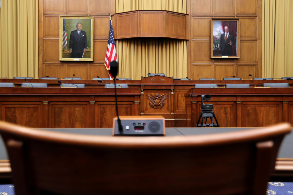 A witness chair sits in the U.S. House Judiciary Committee hearing room on Capitol Hill in Washington, U.S., June 14, 2019...