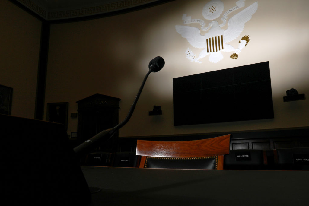A witness chair sits in the U.S. House Judiciary Committee hearing …