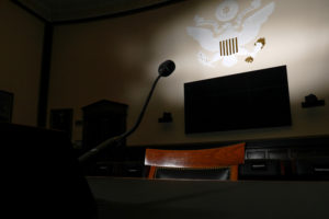 A witness chair sits in the U.S. House Judiciary Committee hearing room on Capitol Hill in Washington, U.S. June 14, 2019. The dark cloud of impeachment has threatened President Donald Trump for many months, with Democrats in the U.S. House of Representatives, where any such effort to remove Trump from office would begin, divided about whether to proceed. Picture taken June 14, 2019. REUTERS/Jonathan Ernst