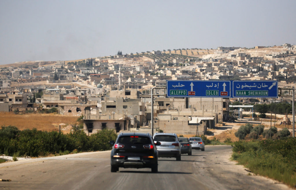 FILE PHOTO: A journalists' convoy is seen at the entrance of Khan Sheikhoun, Idlib, Syria August 24, 2019. Photo by Omar Sanadiki/Reuters