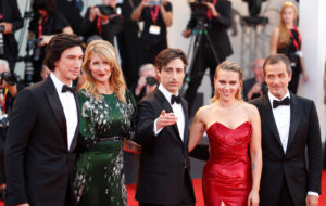 "Actors Adam Driver, Laura Dern and Scarlett Johansson, director Noah Baumbach and producer David Heyman pose during red carpet arrivals for the 76th Venice Film Festival and the screening of the film ""Marriage Story"" on August 29, 2019 Photo by Yara Nardi/Reuters"