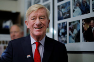 Republican 2020 U.S. presidential candidate and former Massachusetts Gov. Bill Weld arrives to file his paperwork to put his name on New Hampshire's primary ballot on Nov. 13, 2019. Photo by REUTERS/Brian Snyder