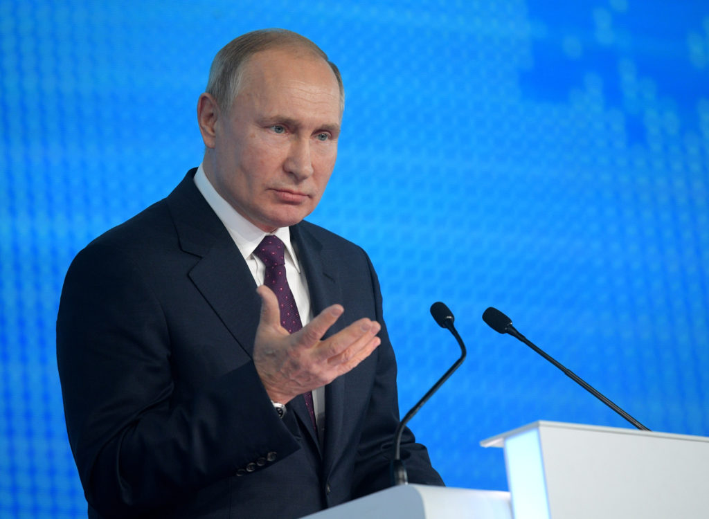 Russian President Vladimir Putin attends the XIX United Russia Party Congress in Moscow, Russia, November 23, 2019. Sputni...