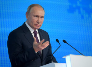 Russian President Vladimir Putin attends the XIX United Russia Party Congress in Moscow, Russia, November 23, 2019. Sputnik/Alexei Druzhinin/Kremlin via REUTERS.