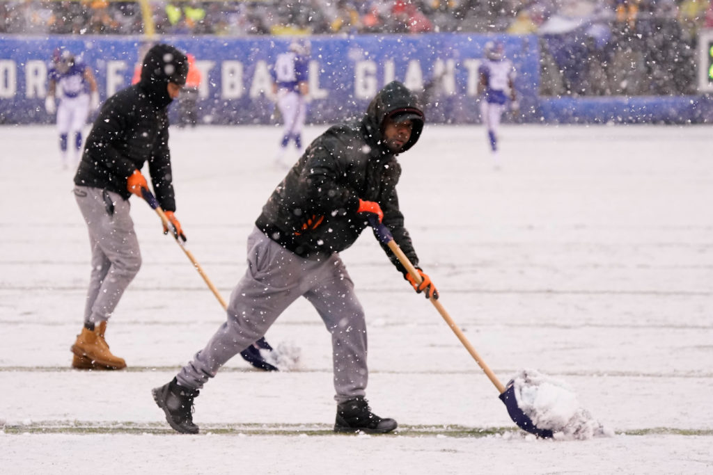 Dec 1, 2019; East Rutherford, NJ, USA; Clearing the lines in the snow at MetLife Stadium. Photo by Robert Deutsch-USA TODAY Sports