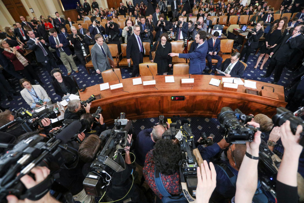 Witnesses arrive prior to the start of a House Judiciary Committee hearing on the impeachment inquiry into U.S. President ...